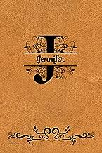 Split Letter Personalized Journal - Jennifer: Elegant Flourish Capital Letter on Light Brown Leather Look Background