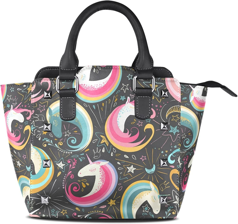 My Little Nest Women's Top Handle Satchel Handbag colorful Cute Unicorns Stars Moon Ladies PU Leather Shoulder Bag Crossbody Bag
