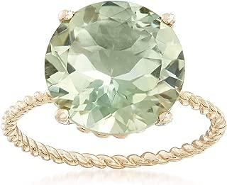 4.50 Carat Green Prasiolite Twist Rope Ring in 14kt Yellow Gold