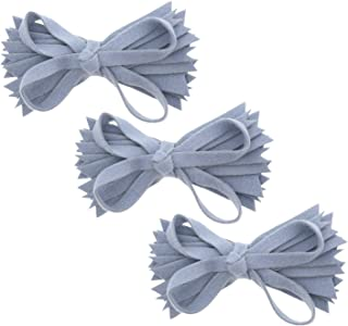 Sponsored Ad - Denim Felt & Wool Strips Hair Bow Clip For Girls Small - Set of 3