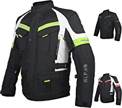 ACG ADVENTURE MOTORCYCLE JACKET MEN FOR TOURING CE ARMOR WATERPROOF ALL SEASON BIKER RIDING (BLACK/HI VIS GREEN, 2X-LARGE)
