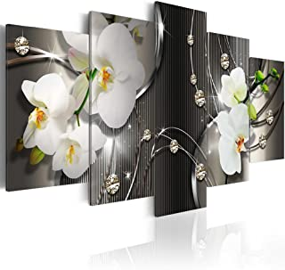 "Giant White Orchid Flowers Contemporary Canvas Print Art Vibrant Floral Diamond Oversized Painting Modern Wall Picture Decor Ready to Hang (80""x 40"", Greyness)"