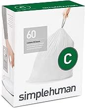 simplehuman Code C Custom Fit Liners, Drawstring Trash Bags, 10-12 Liter / 2.6-3.2 Gallon, 3 Refill Packs (60 Count)