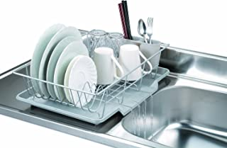 Home Basics 3 Piece Vinyl Coated Steel Dish Drainer Drying Rack with Drip Tray And Utensil Cup, Silver