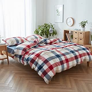 FACE TWO FACE 3-Piece Duvet Cover Queen,100% Washed Cotton Duvet Cover,Ultra Soft and Easy Care,Simple Style Bedding Set (Queen,Blue red Grid)