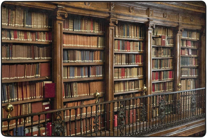 MONTOJ Vintage Library Bookshelf Pattern Weathertech Floor mats Area Rugs for Living Room Bedroom Home Decoration Carpet Doormat Wearproof