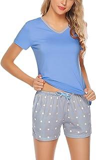 بيجامة نسائية من Hawiton بأكمام قصيرة ملابس نوم صاخبة مجموعة بي جي للنوم وشورت من قطعتين بيجامات نوم مجموعة S-XXL
