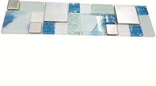 Hominter Tile Sample 3 x 12 Inches: Blue Glass Mosaic Tile, Silver Stainless Steel Metal Tiles for Kitchen Backsplash/Bathroom Shower/Accent Wall MH10