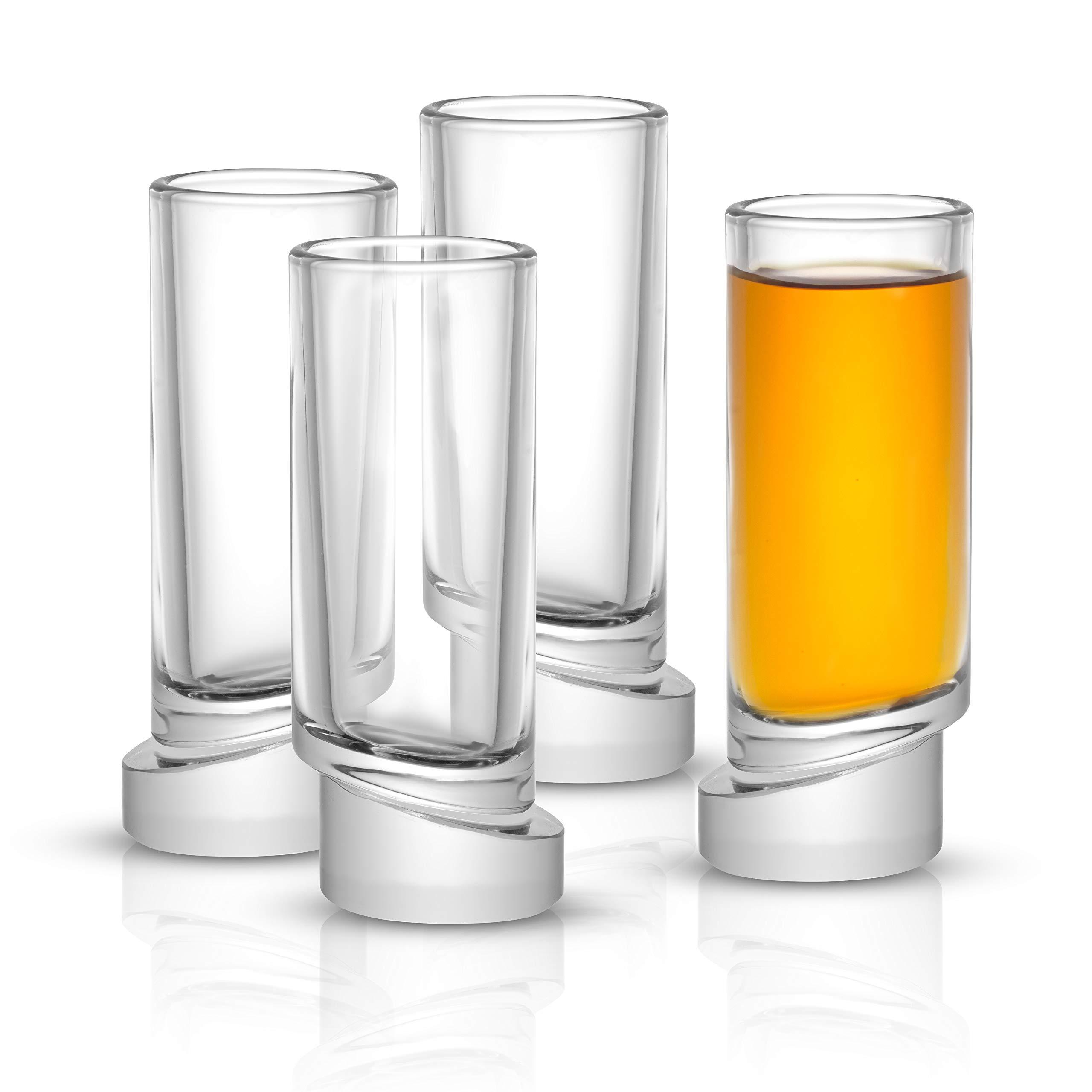 JoyJolt Round Aqua Vitae 1.69 oz Crystal Shot Glasses Set of 4 Off Base Glasses