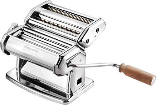 Imperia Pasta Maker Machine - Heavy Duty Steel Construction w Easy Lock Dial and Wood Grip Handle- Model 150 Made in ...