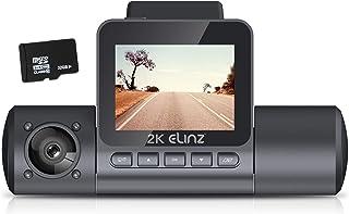 "Elinz 2K Dual Dash Cam 170° HD 2"" LCD Screen WiFi GPS Uber Taxi Car Video Camera Night Vision Novatek 96660 Sony Supercapa..."