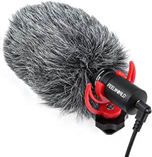 FEELWORLD FM8 Universal Compact Shotgun Video Microphone with Shock Mount, Wind Shield and 3.5mm Conversion Cable for Audi...