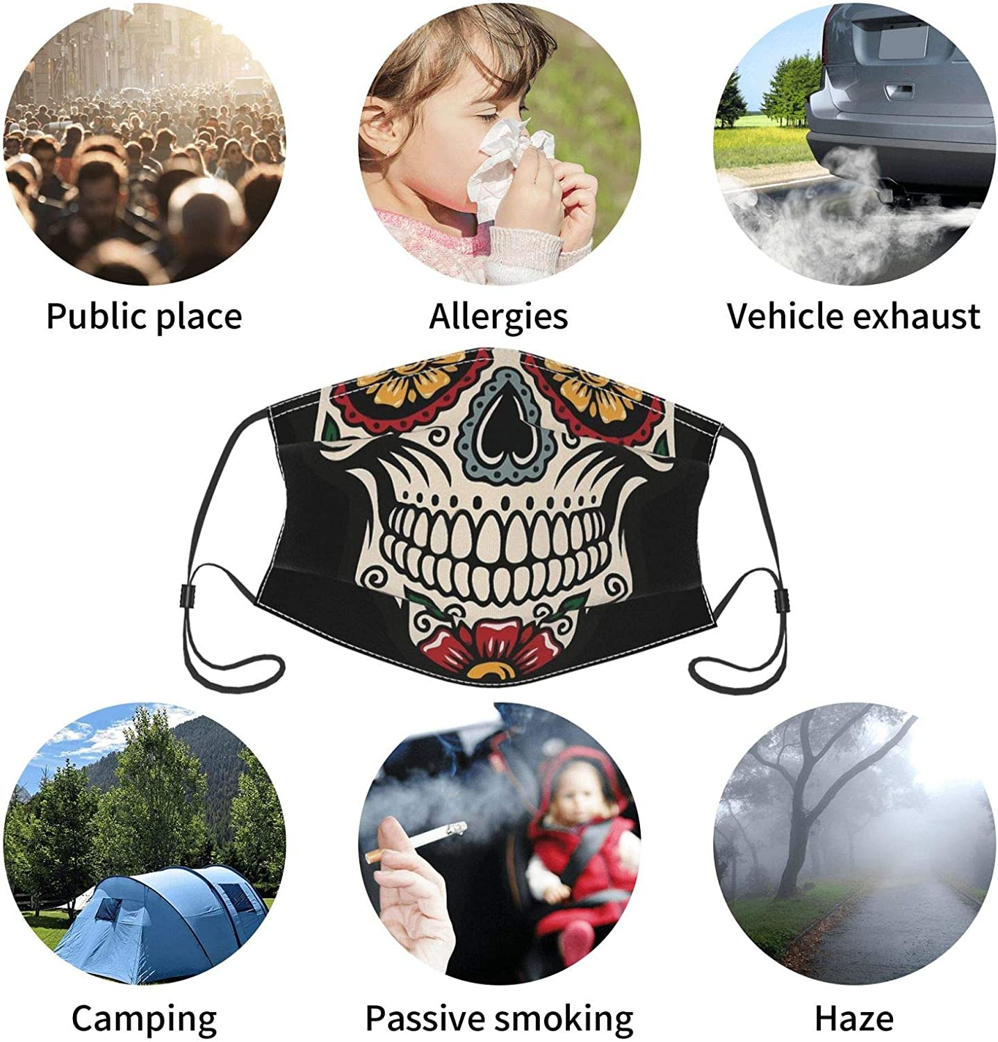 4 Pcs Face Mask Fashion Scarf Design For Adult Reusable Breathable With 8 Filter