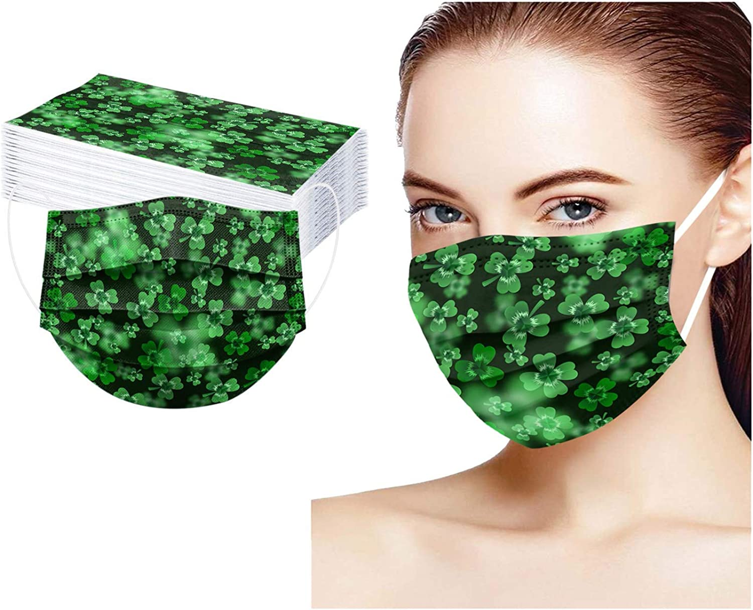 St. Beauty products Patrick's Day Disposable Face Mask Green Clover San Jose Mall Four Leaves