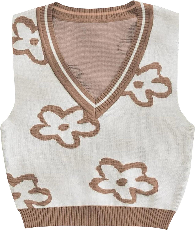 Meladyan Women Cute Flower Graphic Knitted Sleeveless Y2K Crop Sweater Vest V Neck Slim Fit 90s Girls Knitwear Tank Tops