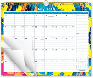 """Cabbrix 2019-2020 Academic Year Monthly Wall Calendar, Wirebound, Colorful, 15"""" x 12"""", Thick Paper Perfect for Organizing & Planning"""