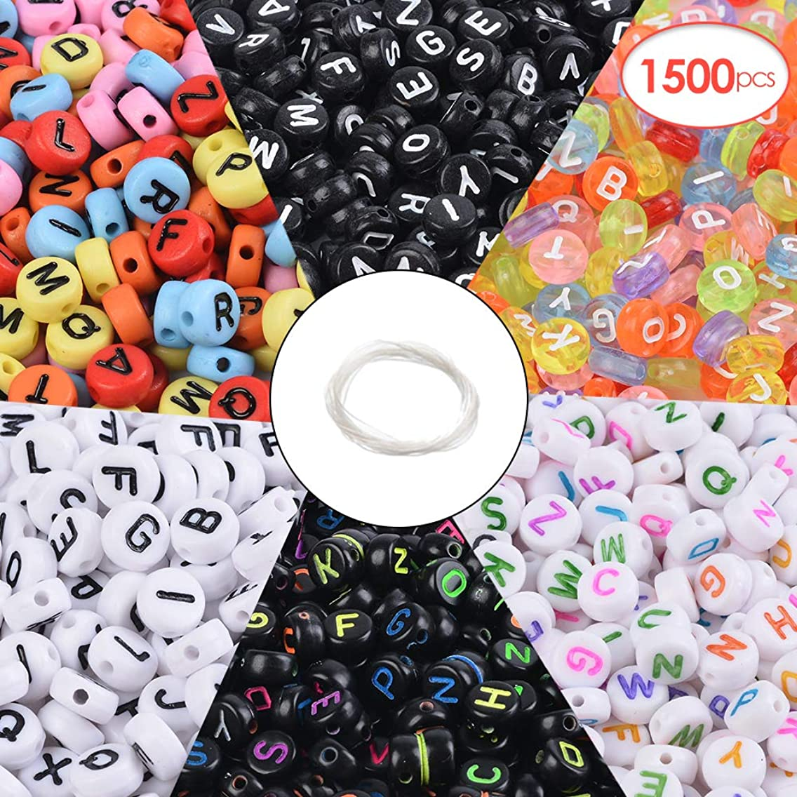 Souarts 1500pcs Letter Beads 6 Styles Acrylic Letter Beads Round Alphabet Letter Beads for Bracelet Bracelets Jewelry Making Key Chains and Kids Jewelry 4x7mm