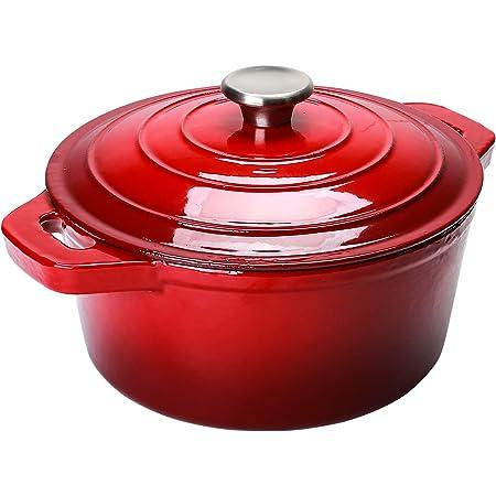 Puricon 5.5 Quart Enameled Cast Iron Dutch Oven, Round Ceramic Enamel Dutch Ovens Pot -Red