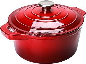 Puricon 5.5 Quart Enameled Cast Iron Dutch Oven, Round Enamel Dutch Ovens Pot -Red