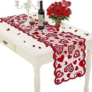 falllea 2 Piezas de Camino de Mesa de Día de San Valentín Camino de Mesa de Corazones Rojas Manteles de Encaje de Corazón ...