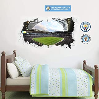 Official Manchester City Football Club - Smashed Etihad Stadium Wall Mural + Bonus Wall Sticker Set Decal Vinyl Poster Print Mural (120cm Width x 80cm Height)