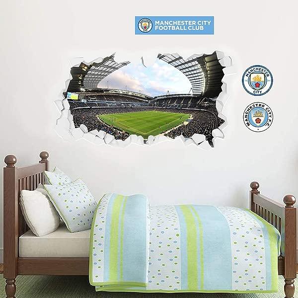 官方曼城足球俱乐部打碎阿提哈德球场墙壁壁画奖金墙贴纸套装贴花乙烯基海报印刷壁画 120厘米宽 X 80厘米高