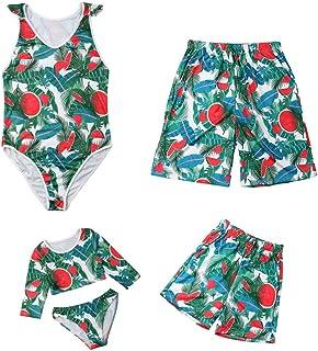 家族マッチング水着夏の葉プリントワンピース水着ビーチウェア