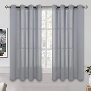 BGment Linen Look Semi Sheer Curtains for Bedroom, Grommet Light Filtering Casual Textured Privacy Curtains for Living Room, 2 Panels (Each 52 x 45 Inch, Grey)
