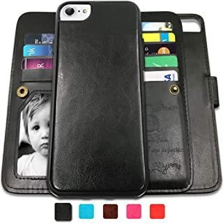 CASEOWL iPhone 8 Case, iPhone 7 Wallet Cases with Detachable Slim Case with 9 Card Slots,Kickstand,Strap for iPhone 7/8-4.7 inch, 2 in 1 Folio Flip Premium Leather Magnetic Removable TPU Case(Black)