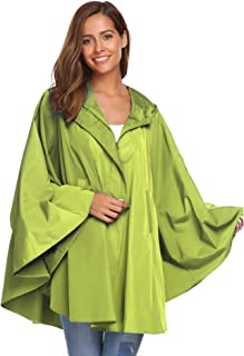 Rain Poncho for Womens Batwing-Sleeved Hooded Raincoat Waterproof Packable Rain Jacket with Pockets (6 Colors S-XXL)