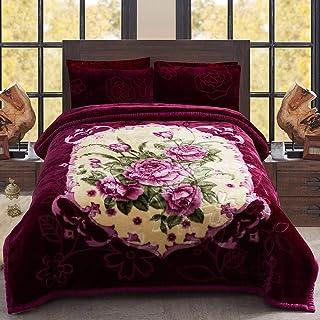 MERRY HOME Heavy Fleece Blanket King Size, Korean Mink 2 Ply 10 Pounds Plush Bed Blanket - Sliky Soft, A&B Printed (Purple...