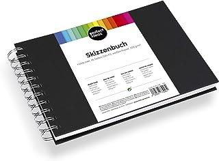 perfect ideaz carnet de croquis de 96 pages (48 feuilles) DIN-A5, carnet de dessin professionnel, livre à spirales avec pa...