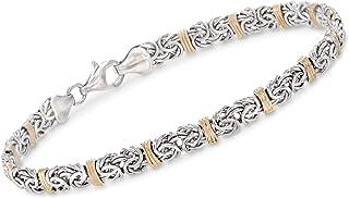 Ross-Simons Sterling Silver and 14kt Yellow Gold Byzantine Station Bracelet