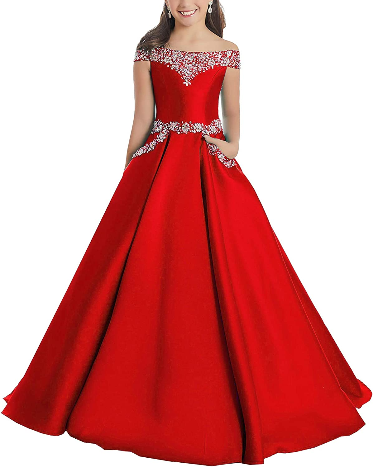 Junguan Girls' Off The Shoulder Pageant Dresses Long Princess Birthday Formal Party Ball Gowns Aline With Pockets Tf001