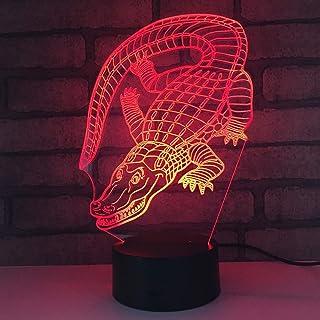 HPBN8 Ltd Illusion Optique 3D Crocodile Nuit Lampe Art Déco Lampe Lumières LED Décoration Lampes Touch Control 7 Couleurs ...