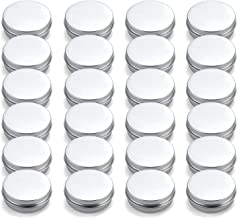 Tosnail 24 Pack 2 oz. Aluminum Round Lip Balm Tin Containers with Screw Thread Lid - Great for Spices, Candies, Tea or Gift Giving