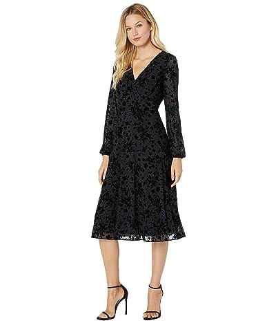 LAUREN Ralph Lauren Floral Fit-and-Flare Dress (Black) Women