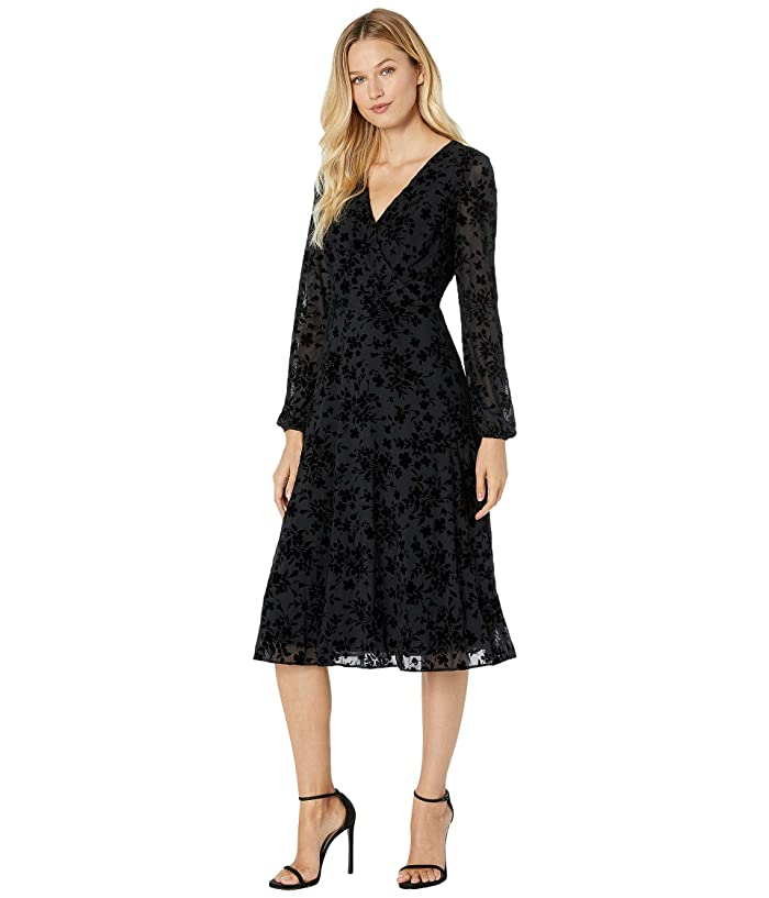 1920s Evening Dresses & Formal Gowns LAUREN Ralph Lauren Floral Fit-and-Flare Dress Black Womens Dress $99.00 AT vintagedancer.com