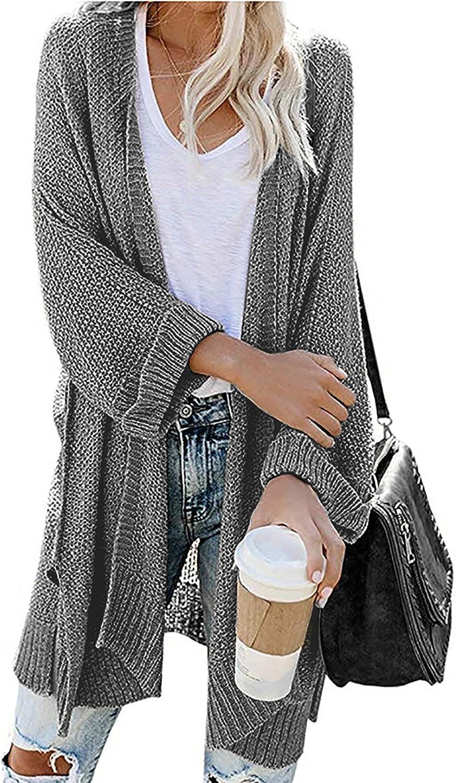 Womens Oversized Open Front Cardigan Casual Chunky Knit Sweaters Draped Long Sleeve Boyfriend Lightweight Outwear Coat