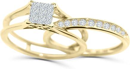 Diamond Rings Set Princess Cut Engagement Ring and Wedding Band Set 10K White or Yellow Gold 1/2ctw