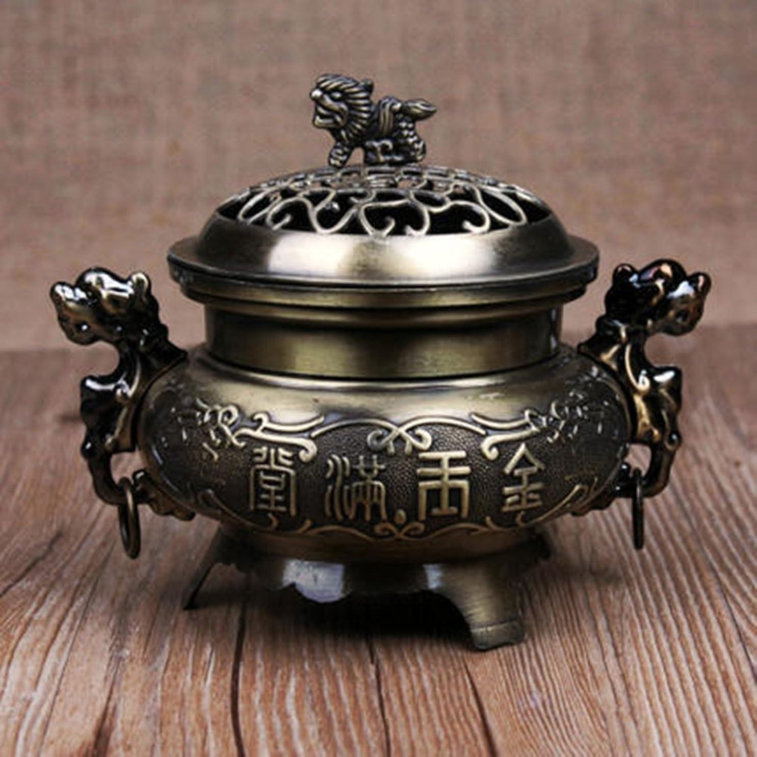 マカダム有利圧倒するLiebeye レトロスタイルの合金香炉 バーナーダブルドラゴン 中空カバー香炉 ホームデコレーション 青銅色