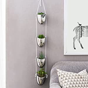 MyGift Metallic Silver Ceramic Ceiling or Wall Mount Rope Hanging Planter 4 Flower Pot Decorative Plant Containers