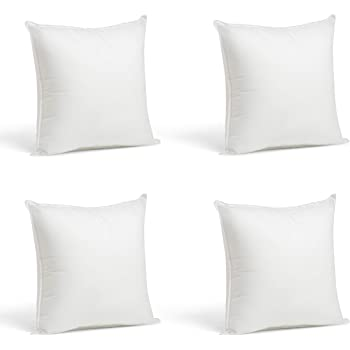 "Foamily Set of 4-12 x 12 Premium Hypoallergenic Stuffer Pillow Inserts Sham Square Form Polyester, 12"" L X 12"" W, Standard/White"