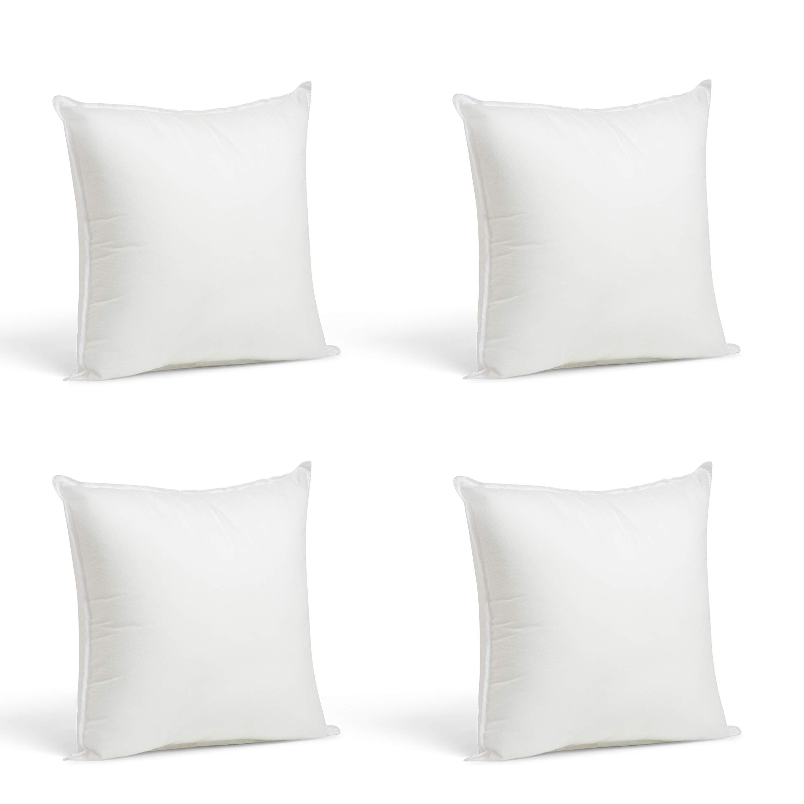 Foamily Set of 4-12 x 12 Premium Hypoallergenic Stuffer Pillow Inserts Sham Square Form Polyester, 12 L X 12 W, Standard/White