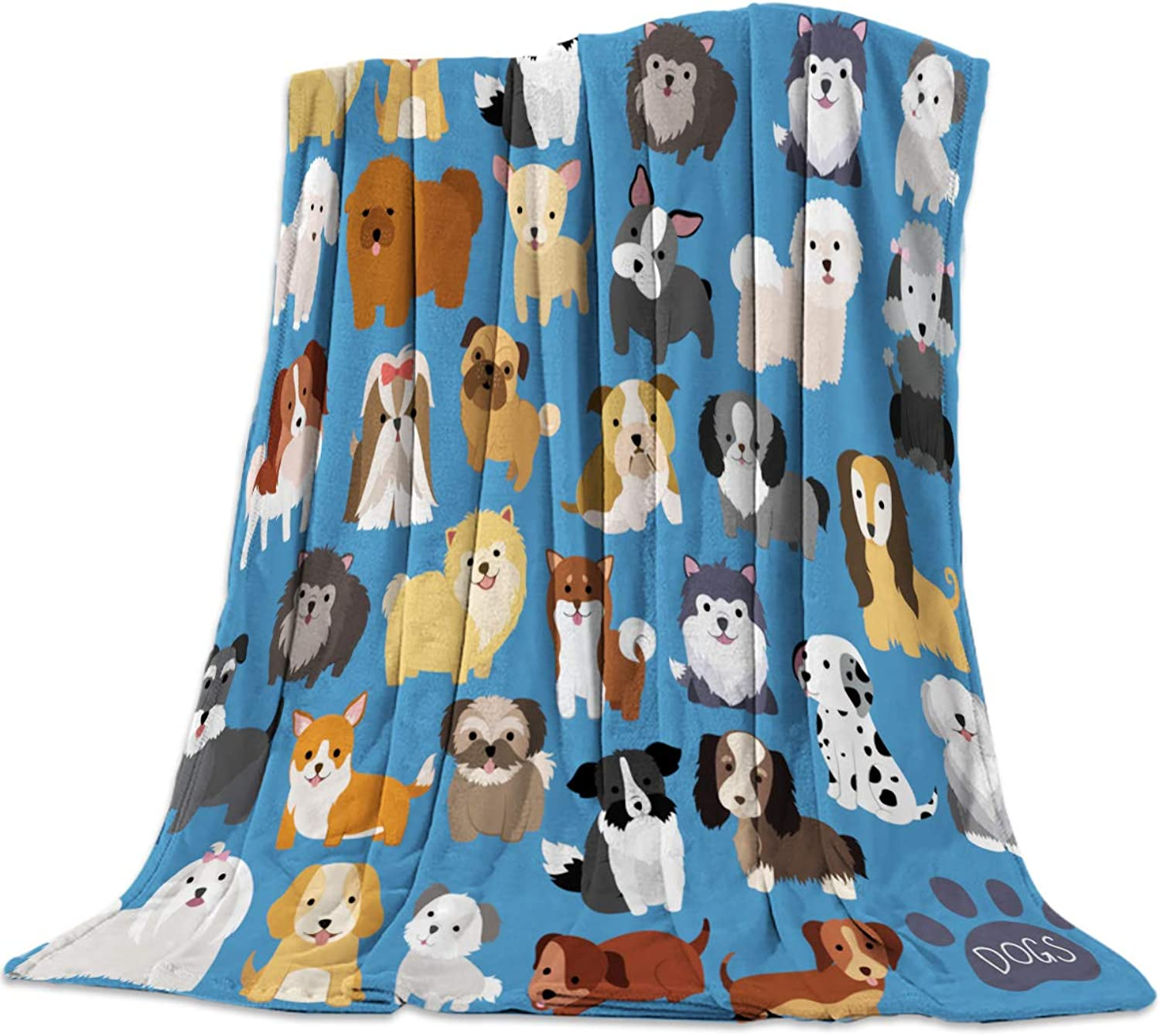 Luck Sky Lightweight Throw Blanket Doggy Blankets, Illustration Cartoon Puppy Dog Flannel Soft Cozy Bed Cover for Kids Baby Men Women Home Office Cars 40 x50