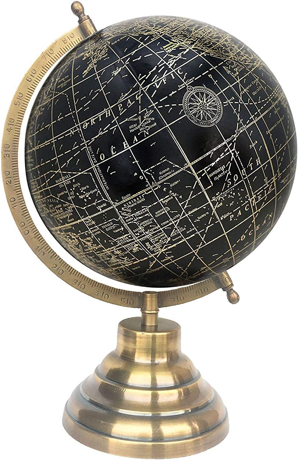 8  Black gold Educational, Antique Globe with Brass Antique Arc and Base, World Globe, Home Decor, Office Decor, Gift Item by Globes Hub