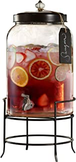 Style Setter Franklin 210235-GB 3 Gallon Glass Beverage Drink Dispensers with Metal Stand & Lid, Tag and Ceramic Knob, 10x17, Clear