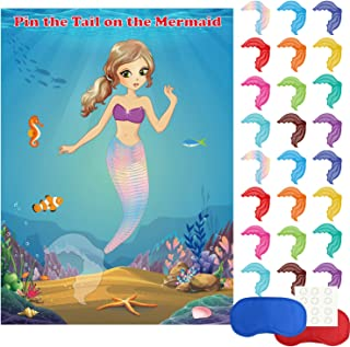 FEPITO Mermaid Party Supplies Pin The Tail on The Mermaid Party Game with 24Pcs Tail Stickers for Mermaid Party Favors, Kids Birthday Party