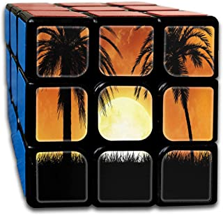 Speed Cube Orange And Green Floral Creative 3 X 3 Magic Cube For Kids (Sticker)