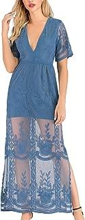 steel blue lace dress
